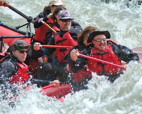 Having fun while rafting on Snake River