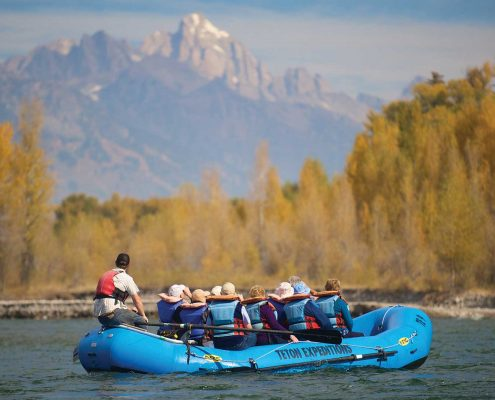 Jackson Hole Whitewater scenic float and the Tetons in the background