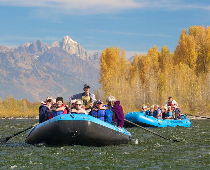 Scenic floats with the Teton range in the background