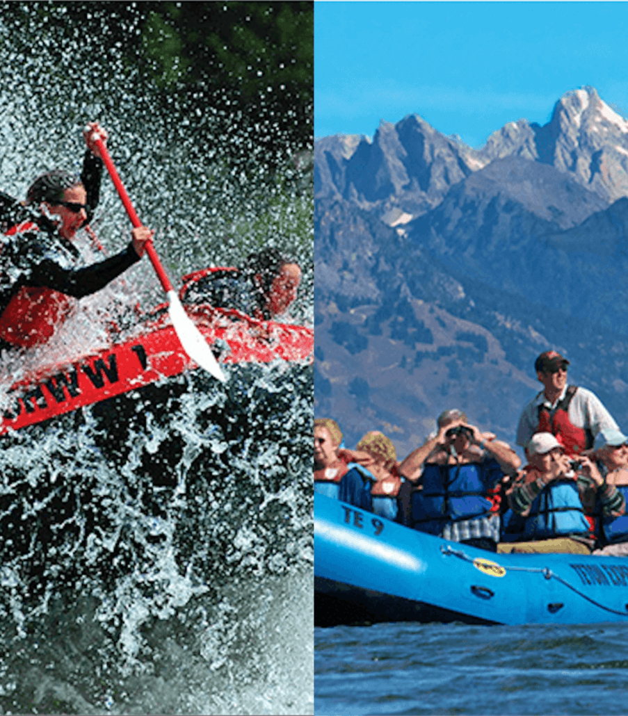 split photo of whitewater rafting on the left and float tour on the right