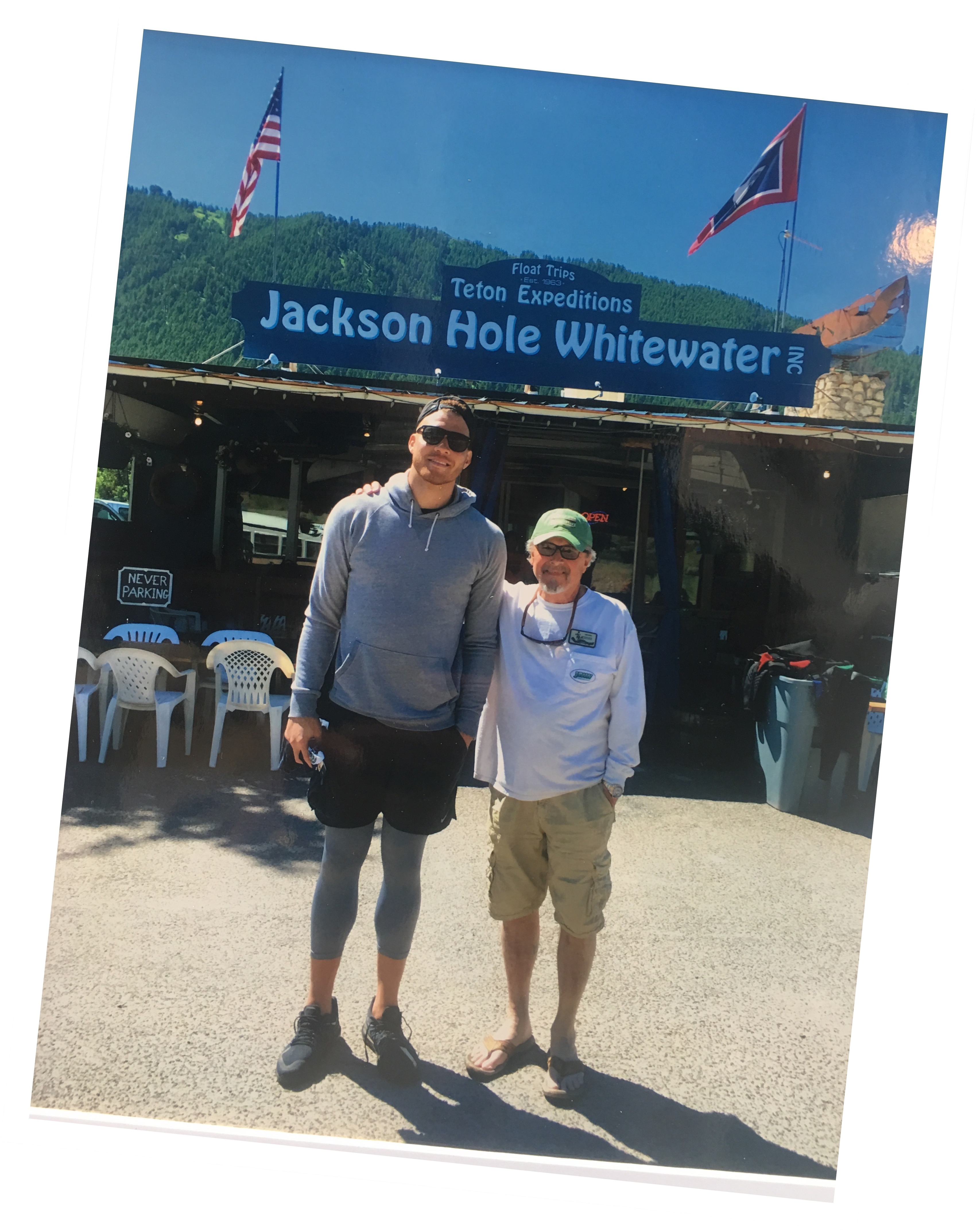 Detroit Piston Blake Griffin in front of Jackson Hole Whitewater building